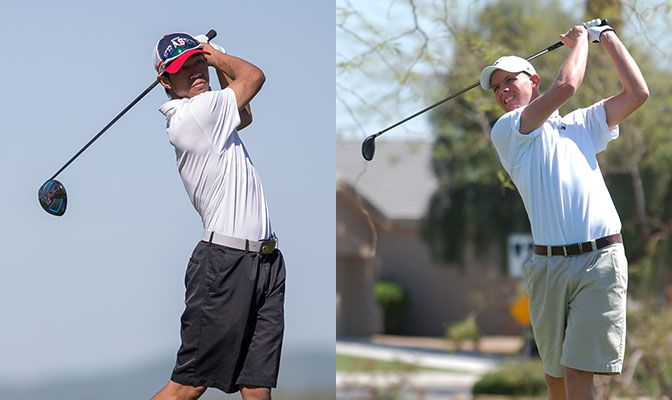 Simon Fraser's Chris Crisologo (left) won his qualifier in Washington while Western Washington coach Jake Koppenberg tied for third and advanced in a one-hole playoff.