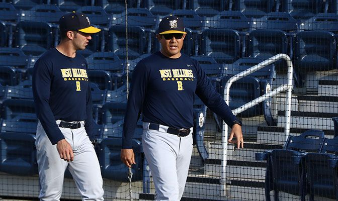 Aaron Sutton (right) and Ryan Wright depart Montana State Billings after three seasons, two GNAC regular-season titles, the 2019 GNAC championship and a trip to the NCAA West Regional.