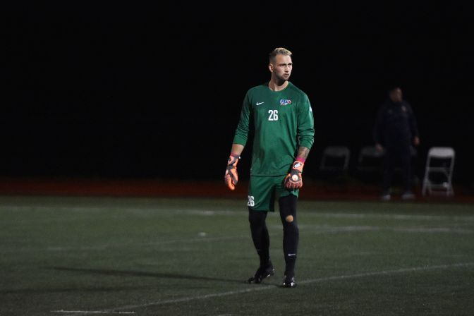 Simon Fraser's Luciano Trasolini is the leading goalkeeper in Division II and the reigning GNAC Defensive Player of the Week.