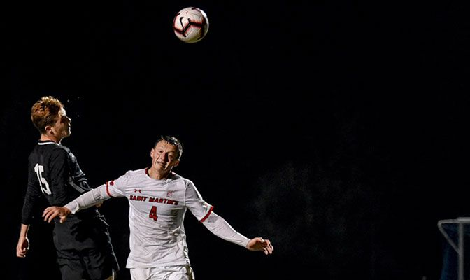 Nick Morgan scored his dramatic header with one second left against Saint Martin's on Oct. 5.