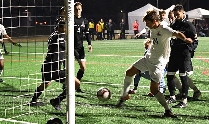 Braeden Anderson netted his game-winner with one second left in the first overtime of the Oct. 31 4-3 win over Saint Martin's.