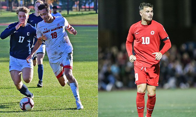 Brandon Madsen (left) was named the 2019 GNAC Player of the Year while Matteo Polisi (right) earned a First Team All-GNAC selection for the third time.