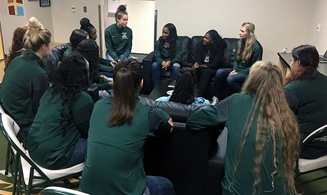 Anucha Browne sat on the couch in a circle of the Alaska Anchorage basketball team to talk about the Seawolves' experience in the NCAA Division II Elite Eight.