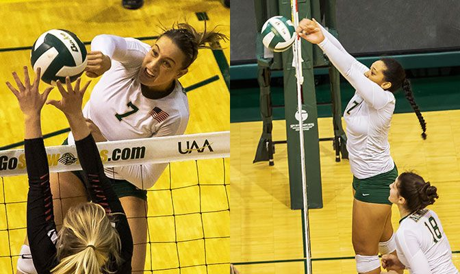 Leah Swiss (left) finished with 41 kills and a .319 hitting percentage last week while Diana Fa'amausili finished with 13 blocks and 30 kills.
