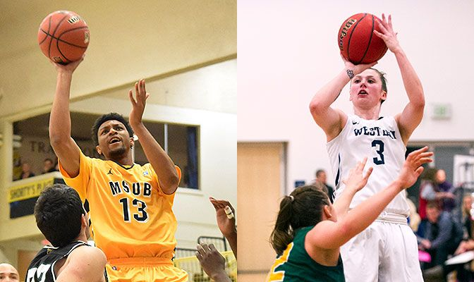 Marc Matthews (left) led Montana State Billings to a pair of key road wins while Taylor Peacocke paced Western Washington with two 29-point efforts.