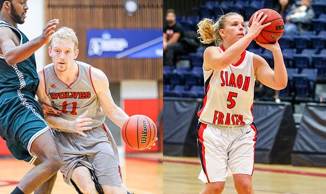 Tanner Omlid (left) and Ellen Kett each led their teams to a pair of road wins to solidify their spots in the GNAC standings.