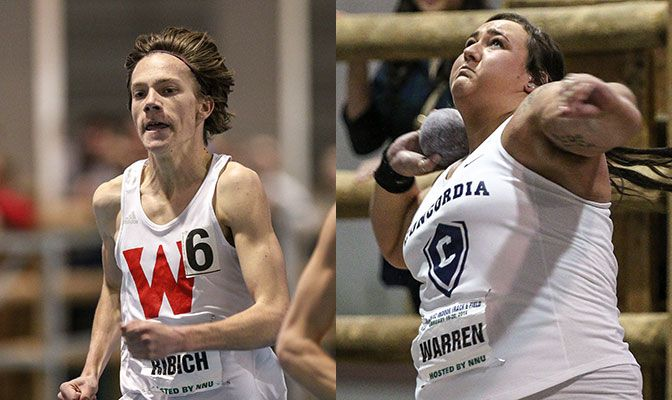 David Ribich (left) set a WOU school record in the 3,000 meters while McKenzie Warren notched Division II's best mark this season in the shot put. Photos by Loren Orr.
