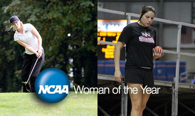 Northwest Nazarene's Taylor Van Valey (left) and Saint Martin's Jennider Liedes are among 141 conference nominees for the 2016 NCAA Woman of the Year Award.