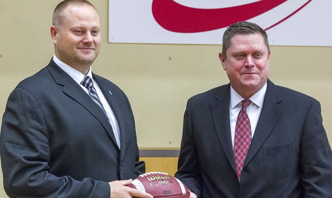 Milt Richards (right) introduced new SFU football coach Kelly Bates on Feb. 26 and soccer coach Clint Schneider on Feb. 10.