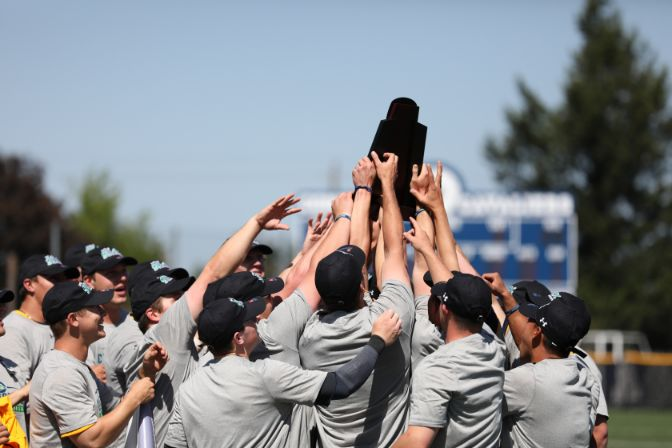 Winning three games in three days, the Yellowjackets were the last team standing at the 2019 GNAC Baseball Championships. Photo by Ellie Parker.