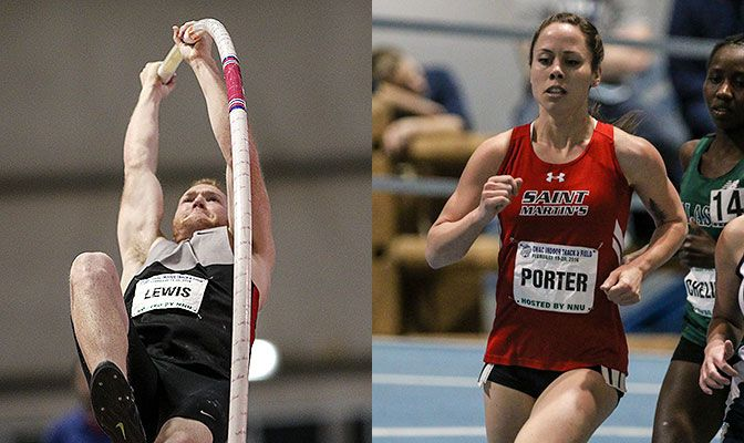 Northwest Nazarene's Payton Lewis (left) set a school record in the pole vault while Saint Martin's Shannon Porter bettered the school record in the 5,000 meters. Photos by Loren Orr.