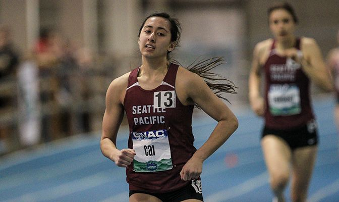 Scout Cai took first place in the pentathlon in her first year competing in the event at the GNAC Indoor Track and Field Championships.