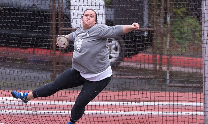 At Saturday's L&C Spring Break Open, Warren set GNAC records in the shot put and hammer and moved into No. 5 on the GNAC All-Time List in the discus.