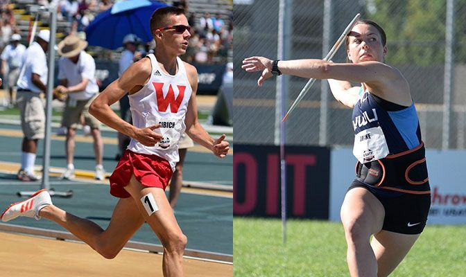 David Ribich (left) was named the USTFCCCA Men's Outdoor Track Scholar-Athlete of the Year while Bethany Drake was tabbed the Women's Field Scholar-Athlete of the Year. Photos by Paul Merca.