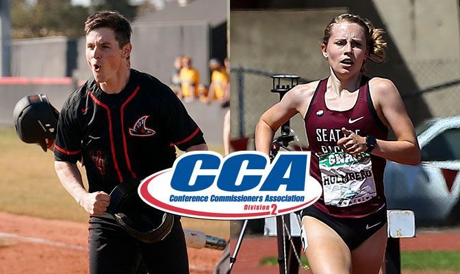 Johnson (left) helped lead NNU to the GNAC and West Region baseball championships. Holmberg won the 1,500 and 5,000 meters at the 2021 GNAC Outdoor Track and Field Championships.