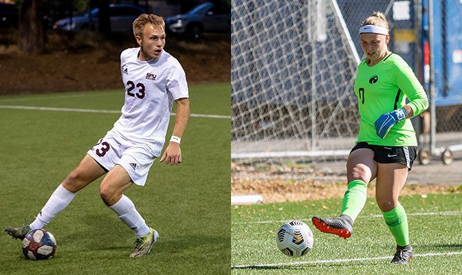 Nik Reierson (left) and Riley Travis swept the Soccer Defensive Player of the Week awards.