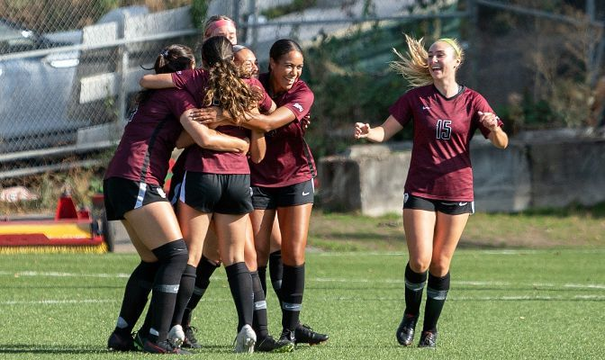 Members of the Seattle Pacific women's soccer team celebrate after a goal. The Falcons are outscoring opponents 23-2 this season.