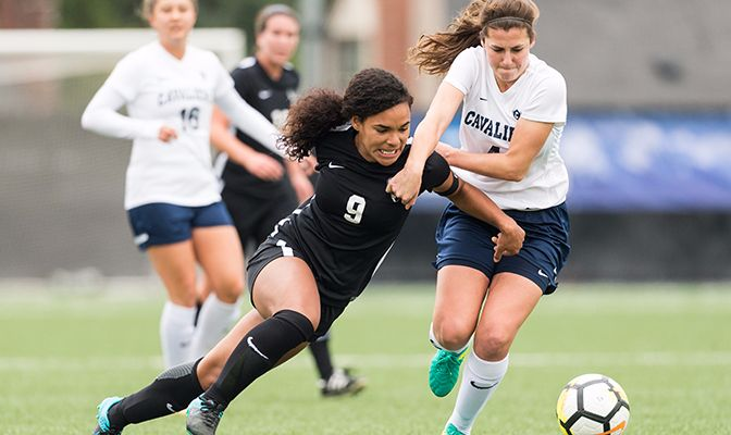 Vikings' forward Gabriela Pelogi (left) leads the league with 15 goals. Cavs' defender Ana Delgadillo (right) anchors a Concordia backline that has allowed just three goals against GNAC opponents.