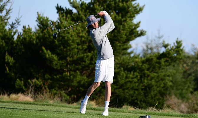 Saint Martin's junior Dennis Geissler had the best round for the Saints on day two of the NCAA Division II National Championships, carding 2-over-par 74. Photo by Ron Smith.