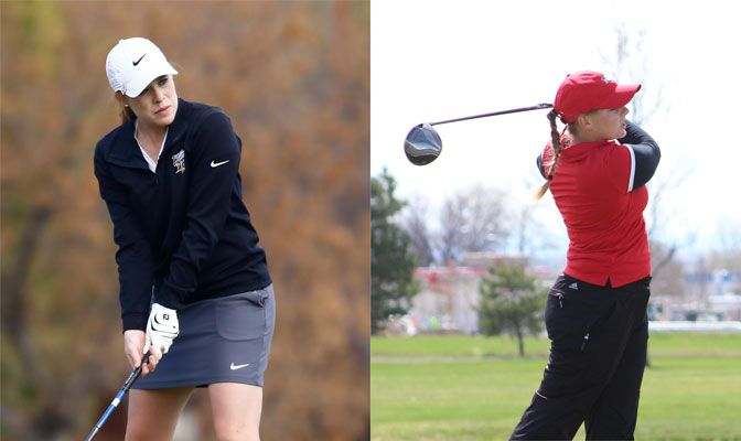 Montana State Billings' Bailee Dexter (left) leads the team with an 80.2 stroke average while Northwest Nazarene's Stephanie Miller is averaging 84.3 strokes per round.