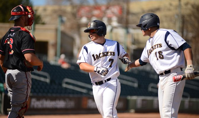 MSUB's Brody Miller (7) hit four home runs and drove in 14 runs.