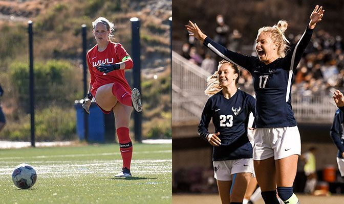 Natalie Dierickx (left) and Grace Eversaul of Western Washingon are among seven four-time GNAC Women's Soccer All-Academic Team honorees.