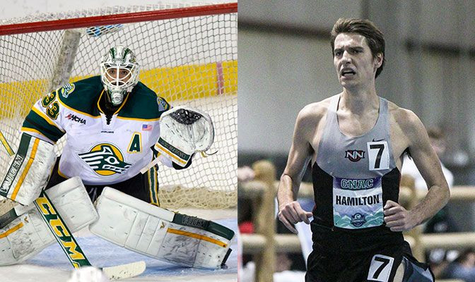 Alaska Anchorage ice hockey goalie Olivier Mantha (left) and Northwest Nazarene runner Isaac Mitchell finished their careers as four-time FAR Scholar-Athlete Award selections with 4.00 GPAs.