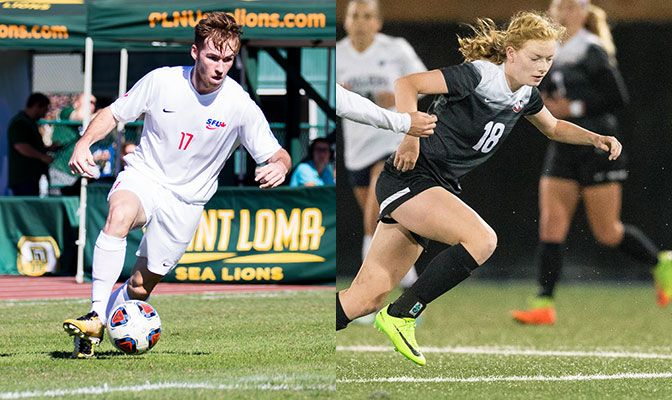 Connor Glennon (left) scored four goals and had two assists as the Simon Fraser men improved to 6-0-0 on the season. Rikki Myers scored two goals as Northwest Nazarene improved to 5-0-1.