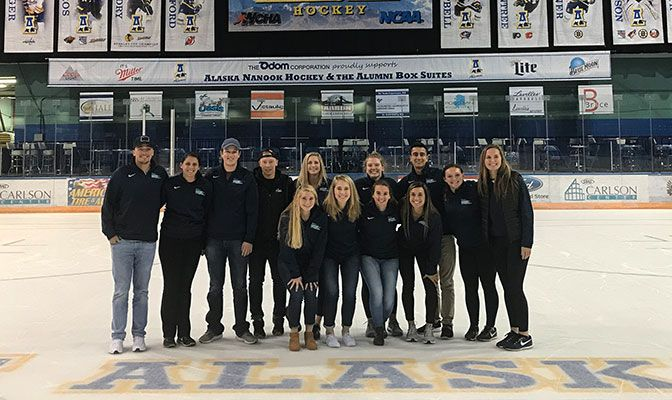 One of two GNAC schools sponsoring a varsity men's ice hockey program, SAAC representatives took in en exhibition game between the Nanooks and a club team from Simon Fraser.