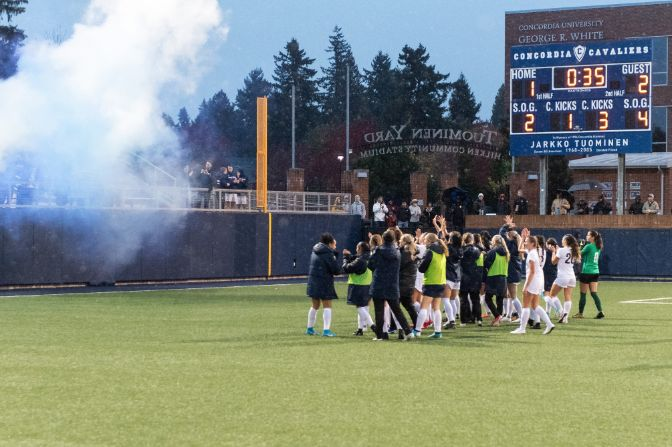 A 2-1 overtime victory handed Concordia its first-ever GNAC Championships title on Saturday in Portland.