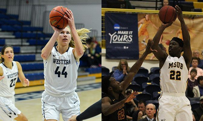 Schwecke (left) had a pair of double-doubles in WWU's wins over Simon Fraser & Montana St. Billings. Rollins scored 46 points in wins over Alaska & Alaska Anchorage.