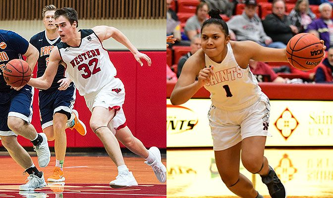 Hawken (left) had 36 points and 16 rebounds in a pair of wins for Western Oregon. Simpson-Patu had 46 points and 12 rebounds to lead the Saints to a split.