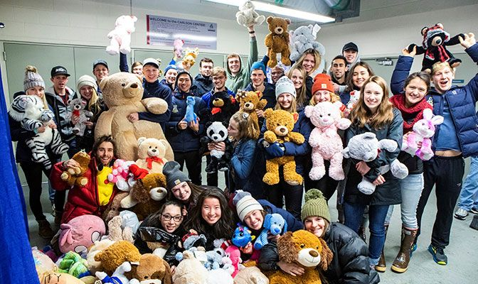 Members of the Alaska SAAC collected 240 teddy bears to donate to local children during a Teddy Bear Toss event at the Nanooks' Dec. 1 hockey game vs. Ferris State.