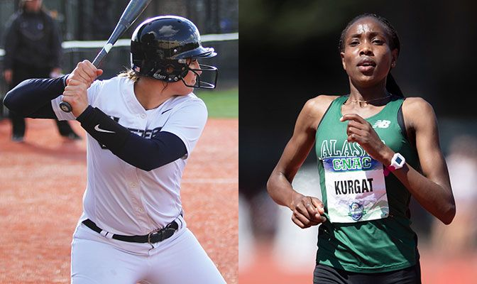 Emily Benson (left) hit .565 over eight games for Western Washington. Alaska Anchorage's Caroline Kurgat set the Division II record in the 10,000 meters at the Stanford Invitational.