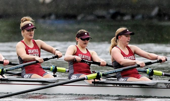Kaitlin Dickinson (shown in middle) helped capture a third place finish in the Championship Elite race at the Head of the Lake Regatta this year.