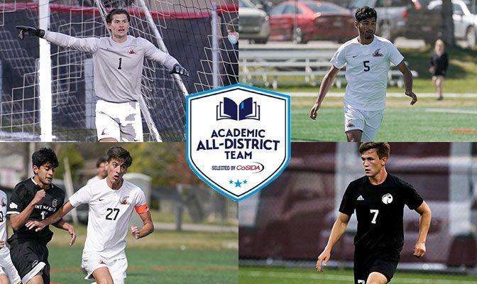 CoSIDA Academic All-District 8 Selections (Clockwise From Top): Sawyer Price (NNU), Danny Cuevas (NNU), Travis Swallow (SPU) and Lorenzo Valentini (NNU).