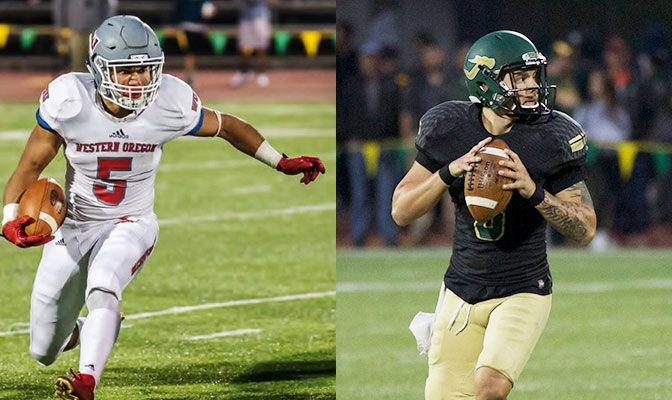 Western Oregon's Malik Braxton (left) and Humboldt State's Robert Webber shared the Football Offensive Player of the Week award despite facing off against each other.