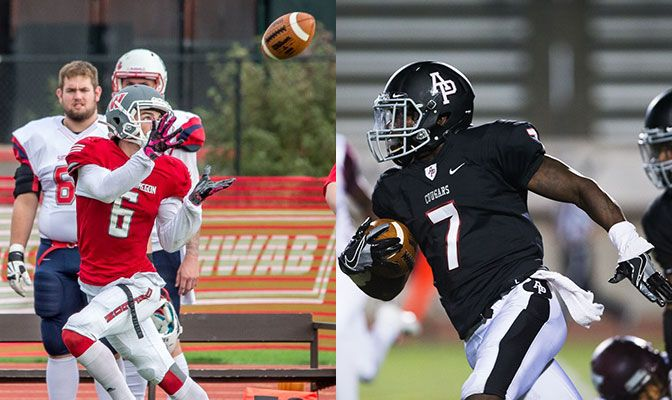 Paul Revis (left) finished with 250 receiving yards, setting a Western Oregon single game record, while Tyree Davis returned a kickoff 100 yards for only the second time of conference history.