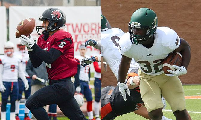 Jesse Zalk (left) set GNAC records with 307 receiving yards and five reciving touchdowwns. Ja'Quan Gardner set a record as well with 375 all-purpose yards.