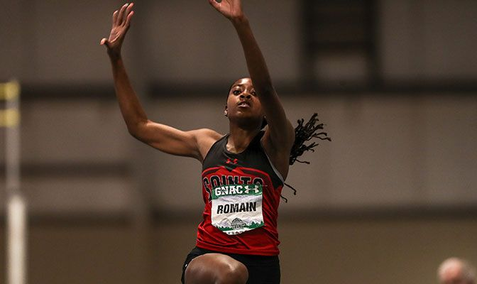Competing in her first meet of the season, Keshara Romain set Saint Martin's records in both horizontal jumps. Photo by Loren Orr.