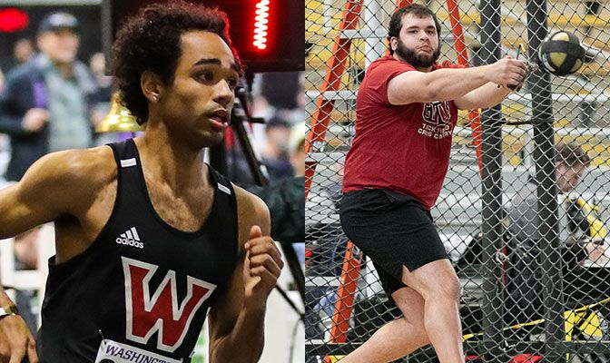 Holdsworth (left) won the men's 800 meters and broke the GNAC record by almost two seconds. Cain placed second in the weight throw and bettered a 13-year conference record.