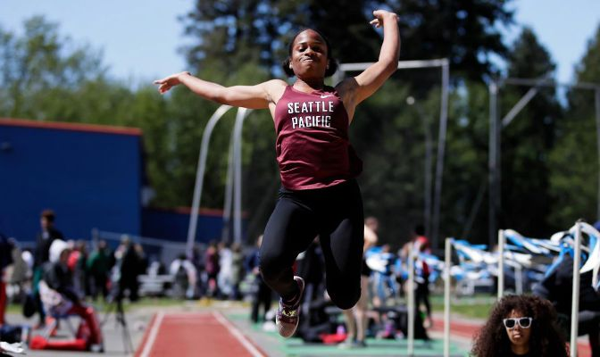 Seattle Pacific's Peace Igbonagwam earned USTFCCCA First Team All-American honors in the long jump in 2019.