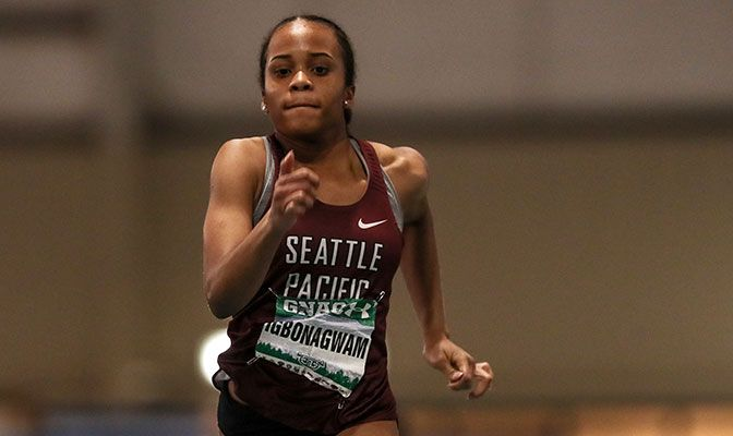 Seattle Pacific's Peace Igbonagwam placed in the top-10 in four events at the Nike Indoor Invite, led by her win in the 60 meters. She was named the GNAC Women's Track Athlete of the Week.