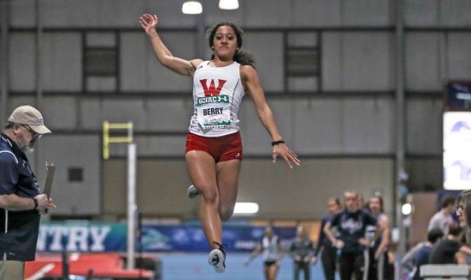 Lauren Berry placed 17th in the long jump at the 2019 GNAC Indoor Track and Field Championships.