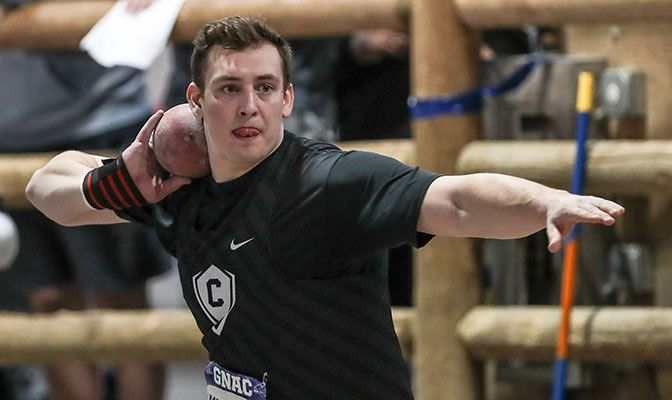 Jakob Chamberlain finished second at the GNAC Indoor Championships in the shot put and was among the top performers in the event this season. Photo by Loren Orr.