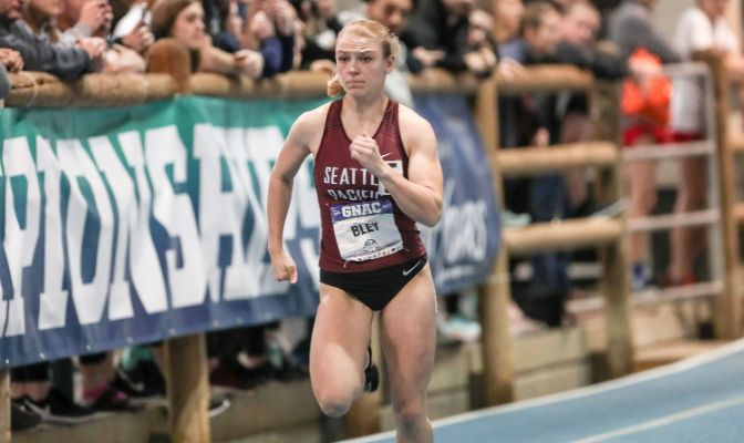 Grace Bley was the runner up in the 200 meters at the 2020 GNAC Indoor Track and Field Championships with a time of 24.65 seconds.