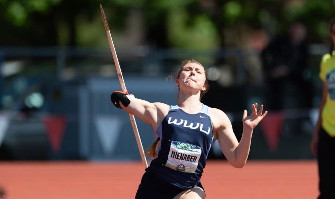 Hannah Nienaber finished in seventh place in the javelin throw at the 2019 GNAC Outdoor Track and Field Championships with a mark of 141 feet, 10 inches.