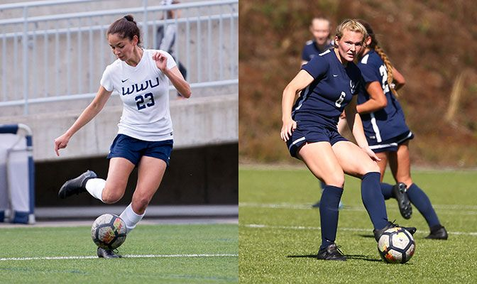 Dayana Diaz (left) scored three goals at Saint Martin's on Thursday, the 58th hat trick in GNAC history, while Jordyn Bartelson led a WWU defense that did not allow a shot on goal.