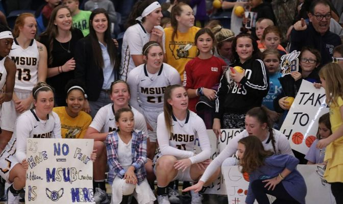 Montana State Billings was recognized for its Pack The House Elementary School Day, which brought 500 school kids in to watch the MSUB women play Corban on Nov. 18.