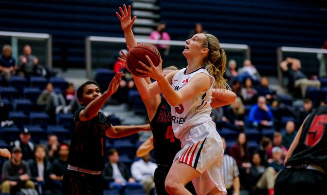 Claudia Hart ranks 16th in the GNAC with 5.8 rebounds per game and 24th with 2.2 assists per game.